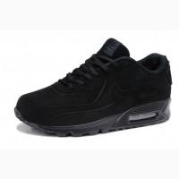 Кроссовки Nike Air Max 90 VT black натуральный замш зимние теплые черные