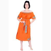 Платье из льна с крупными стеклянными бусинами, оранжевый