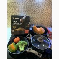 Набор кастрюль и сковорода мрамор 5 предметов