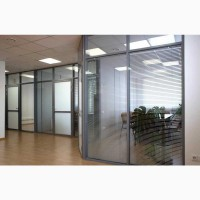 Офисные перегородки из алюминия со стеклом. Покраска, жалюзи, шумоизоляция
