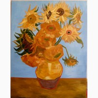 Картина копия Ван Гог Подсолнухи, холст, масло