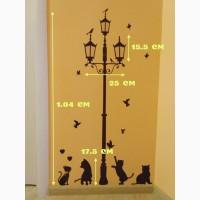 Наклейка на стену фонарный столб и котики, холодильник, шкаф, тумбочки