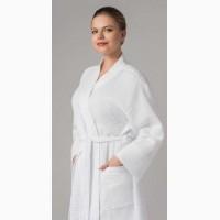 Халат вафельный кимоно белый