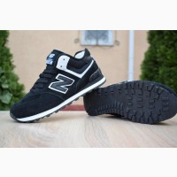 Кроссовки New Balance 574 Low Black черные зимние с мехом